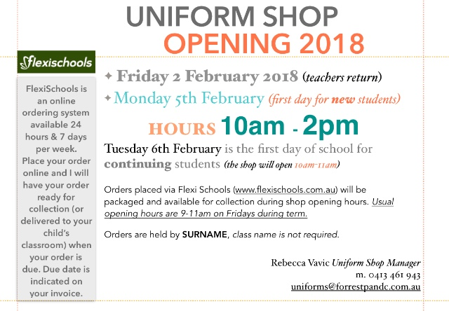Uniform Shop Opening Hours 2018