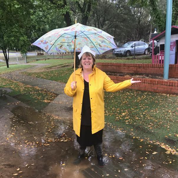 Ali in the rain